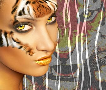 Woman face painted tiger