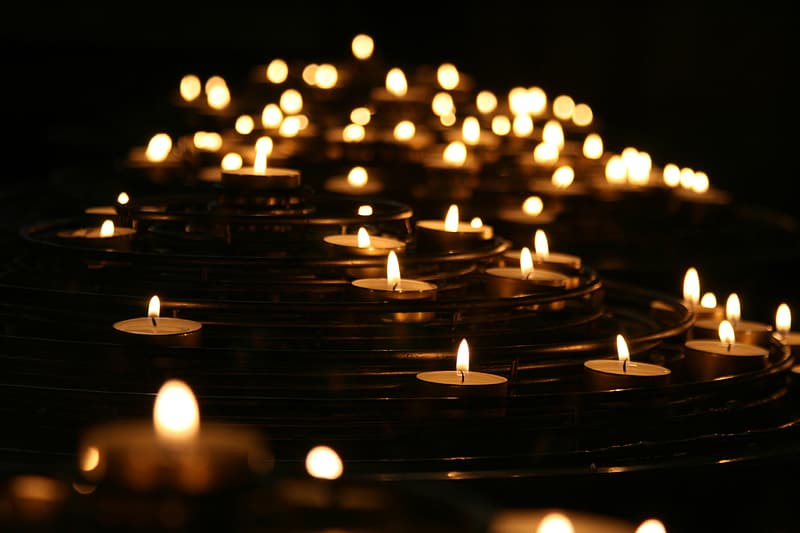 Macro photography of tealight candles