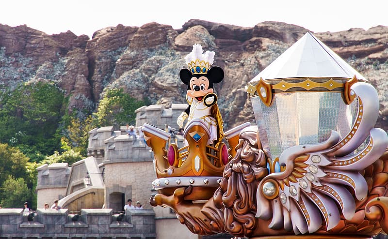 Mickey Mouse mascot on the castle