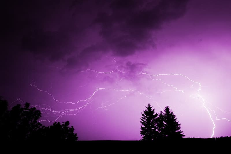 Purple and black clouds with lightning