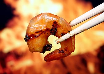 Cooked food with chopstick