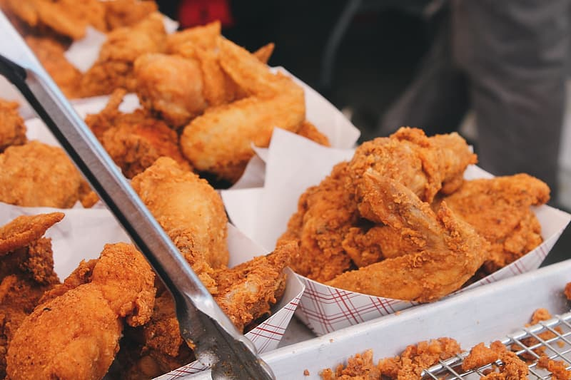 Fried chickens on white bowls