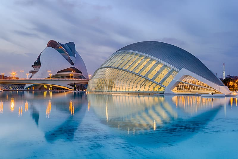 Dome-shaped white structure surrounded by water