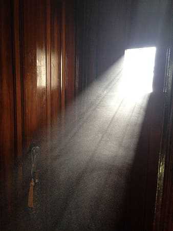 Brown wooden door with white beam of sun