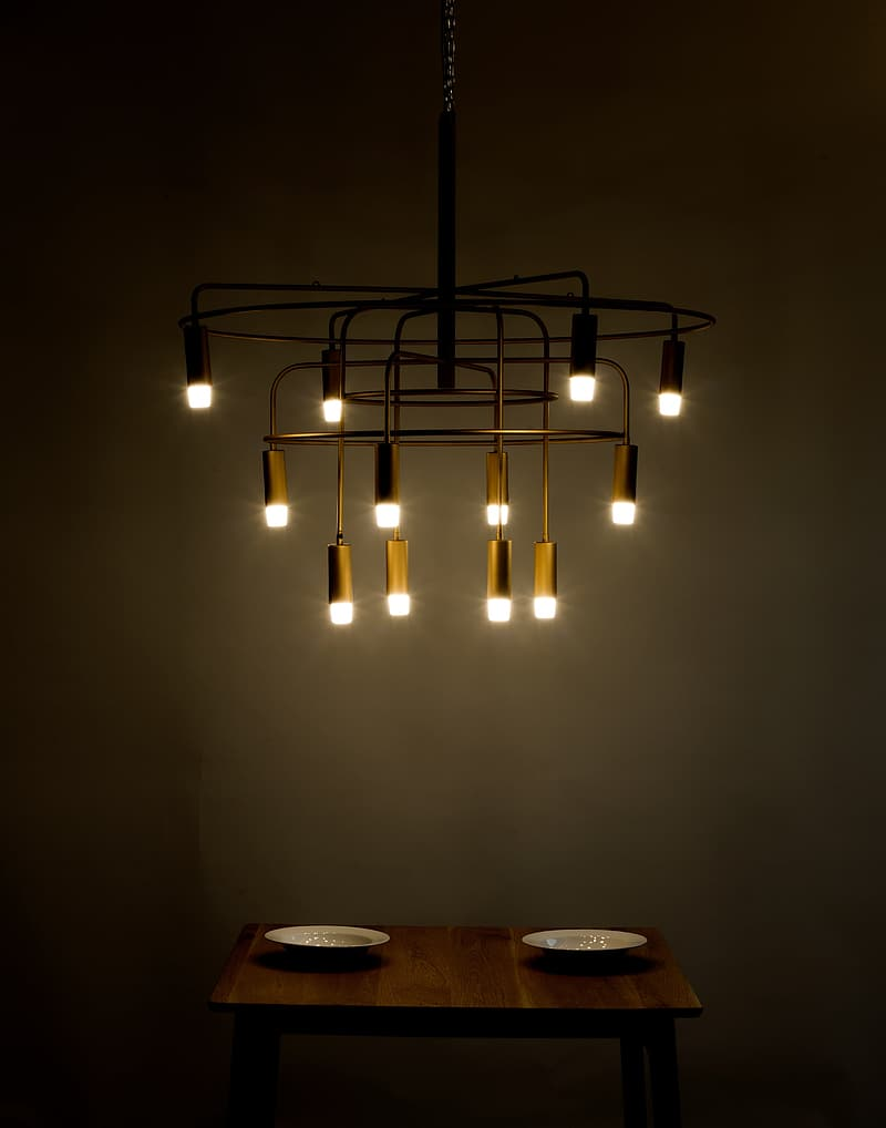 Chandelier mounted on ceiling