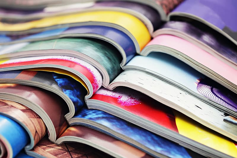 Shallow focus photography of multicolored books