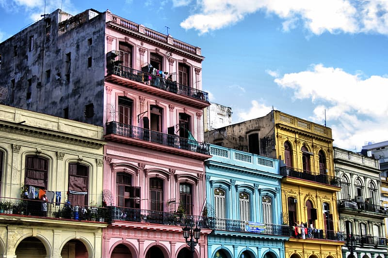 Colored buildings during daytime