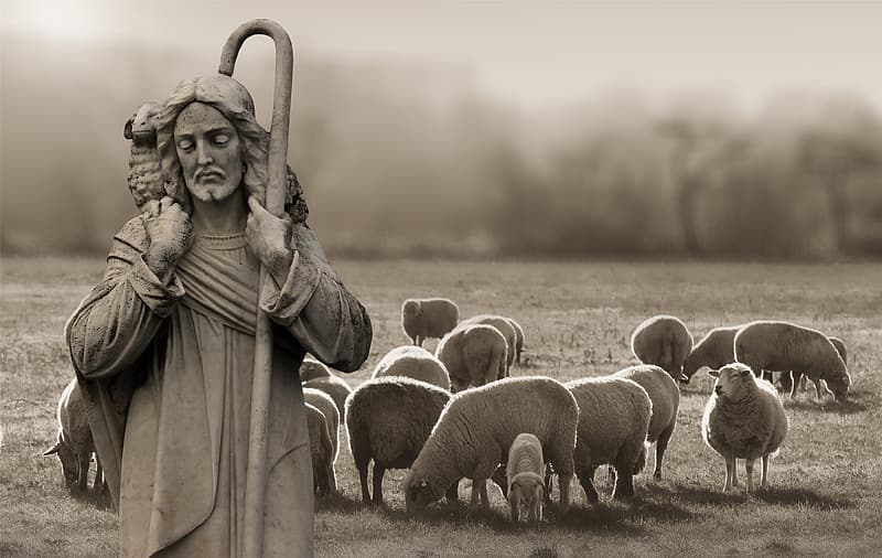 Grayscale photo of religious man