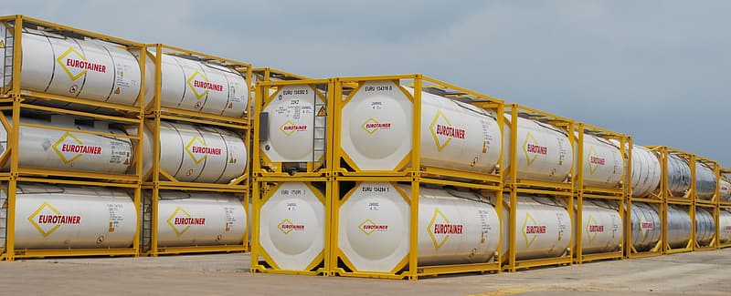 White and brown steel barrels