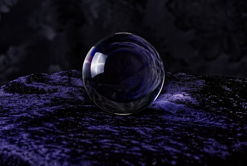 Crystal ball-photography, ball, lights, indoors, glass - material, close-up, selective focus, still life, no people, transparent