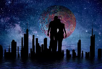 Couple near buildings silhouette against multicolored moon
