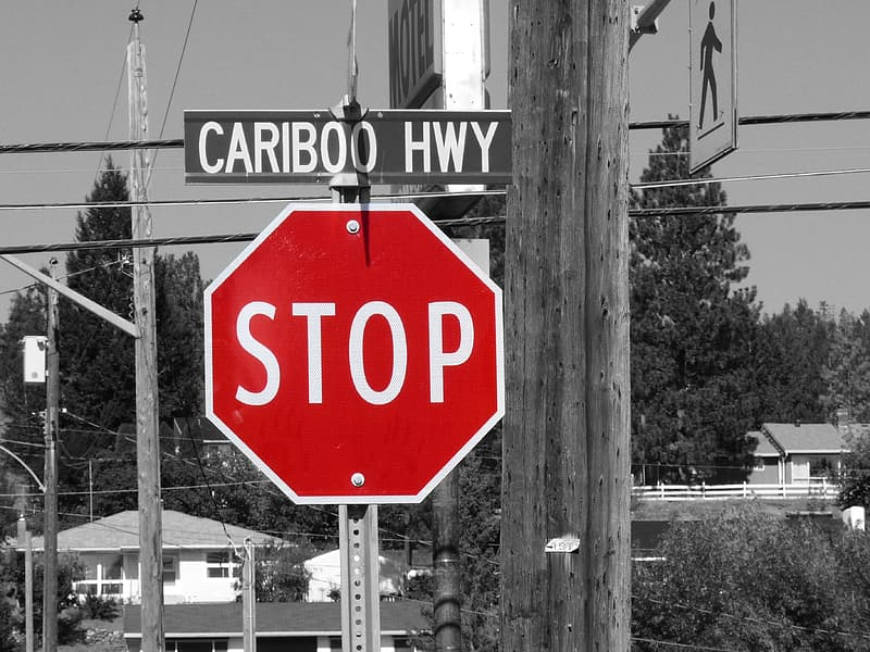 Red Stop signage