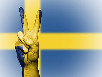 Peace sign with Sweden flag