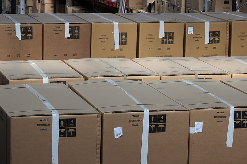 Close up photo of cardboard boxes