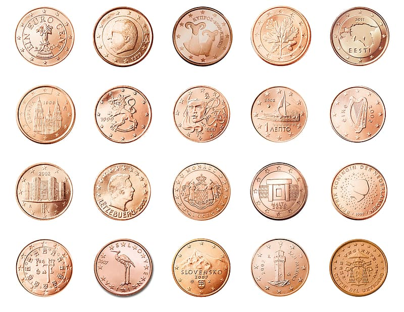 Gold-colored coin collection