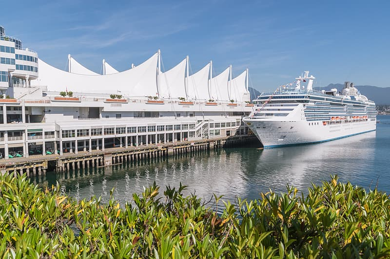 Cruise ship on body of water beside building during daytime