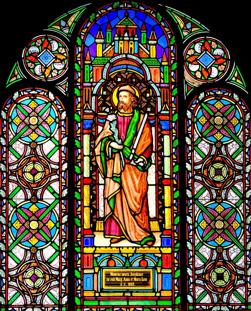 Religious deity stained glass