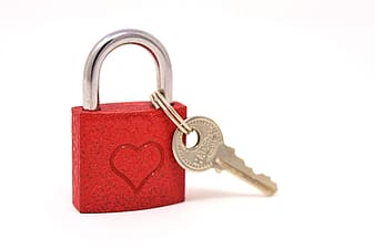 Red and gold padlock with key