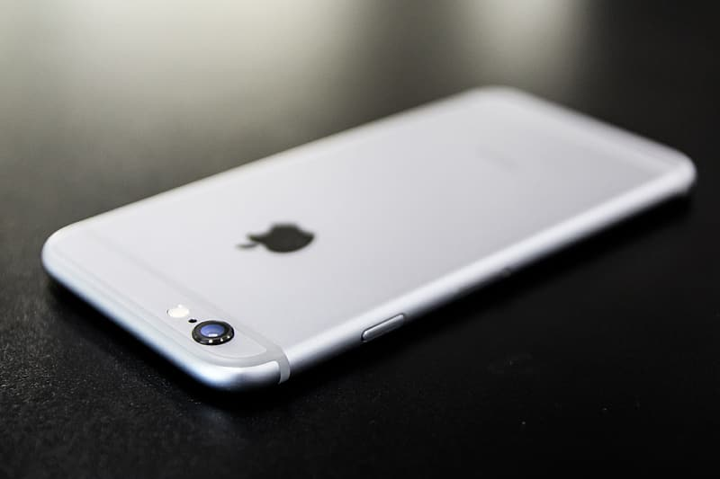 Silver iPhone 6 on black surface