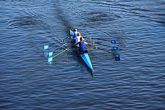 Man in blue and white wetsuit riding blue kayak on body of water during daytime
