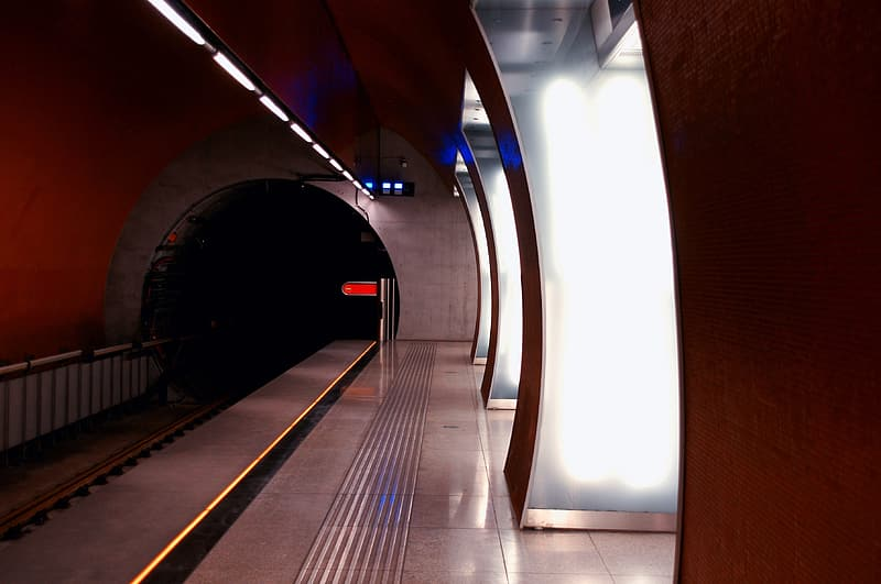 Subway platform with lights