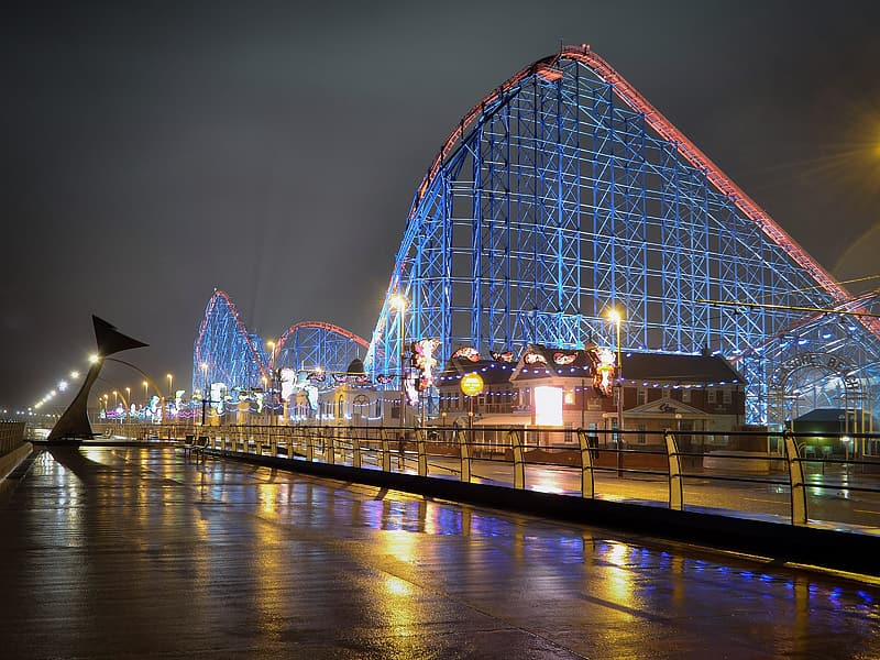 Blue and red roller coaster rail