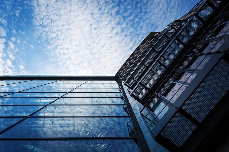 Bottom view of glass-panel building