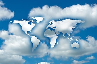 Map of the world on white and blue sky edited photo