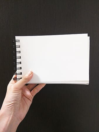Person holding white spiral notebook