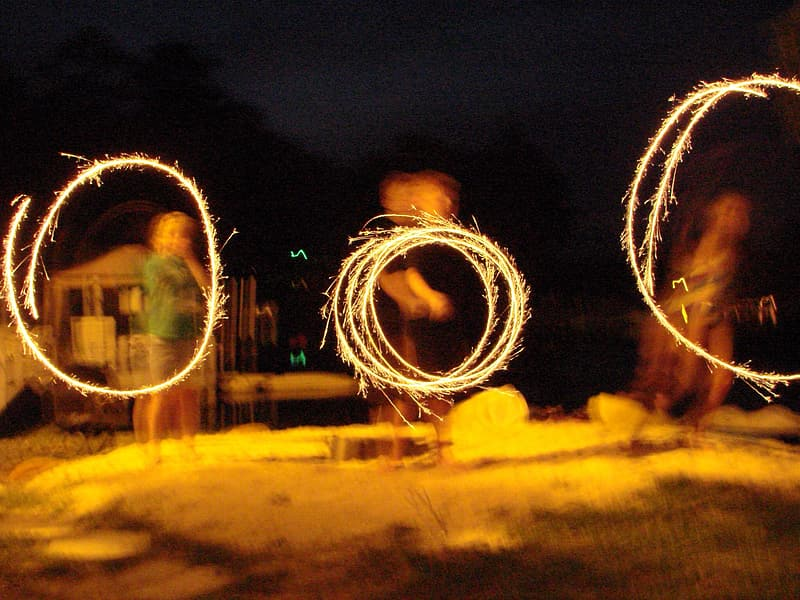 Steel wool photography of people at night