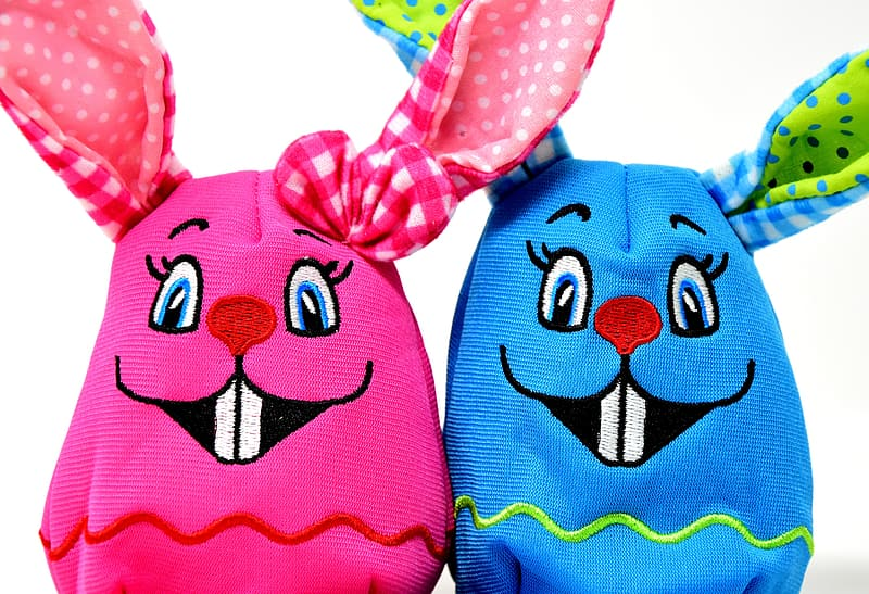 Blue and red plush toy