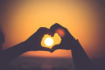 Silhouette of persons hand forming heart during sunset
