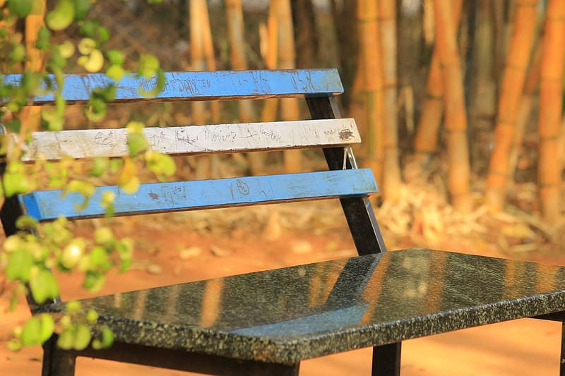 Blue wooden bench with blue wooden bench
