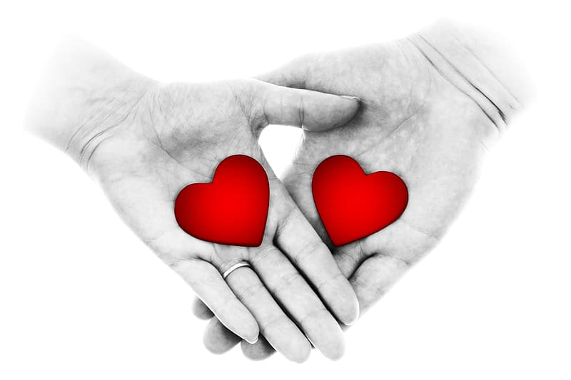 Person's hand holding with heart