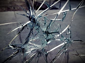 Closeup photo of broken glass