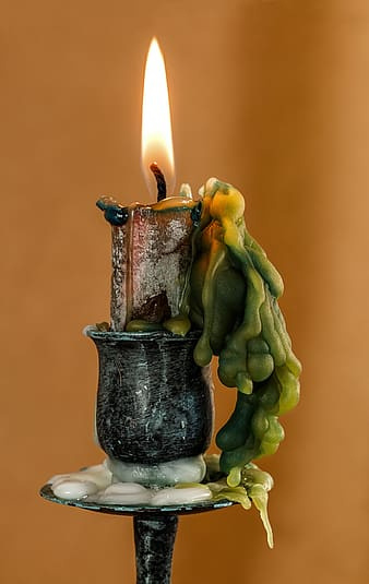 Candle on metal stand