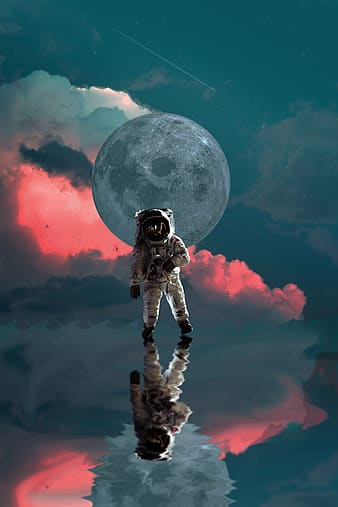 Man in black and white suit standing on the moon