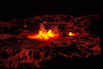 Photo of lava on volcanic crate