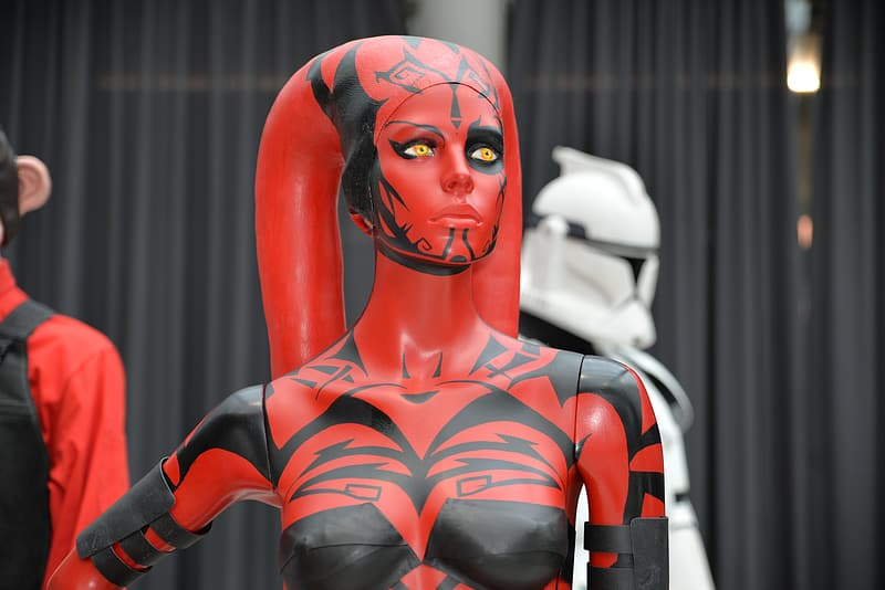 Woman with white and red body paint