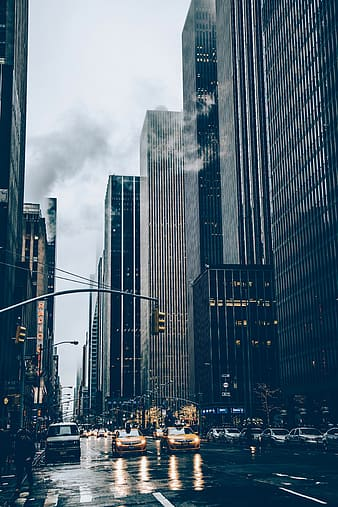 High rise building with smoke