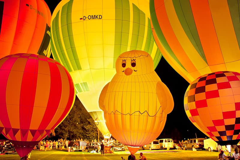Yellow red and green hot air balloon
