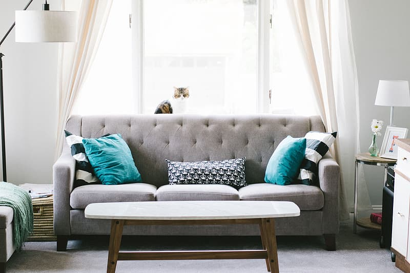 Woman in blue long sleeve shirt lying on gray couch