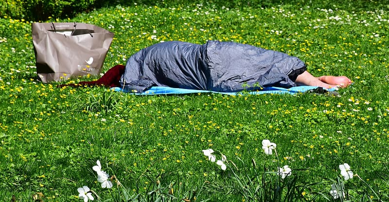 Person lying down on grass field