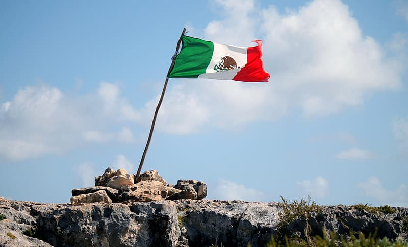 Flag of Mexico on cliff