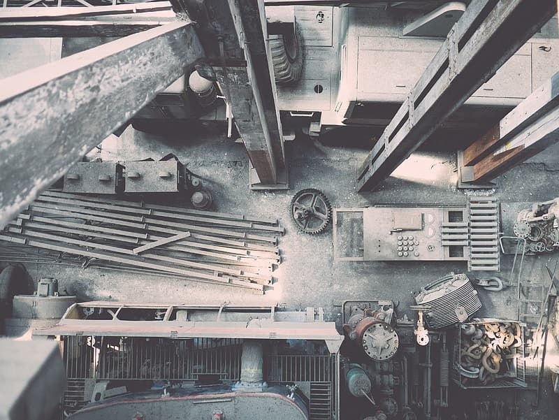 Grayscale photography of industrial machine