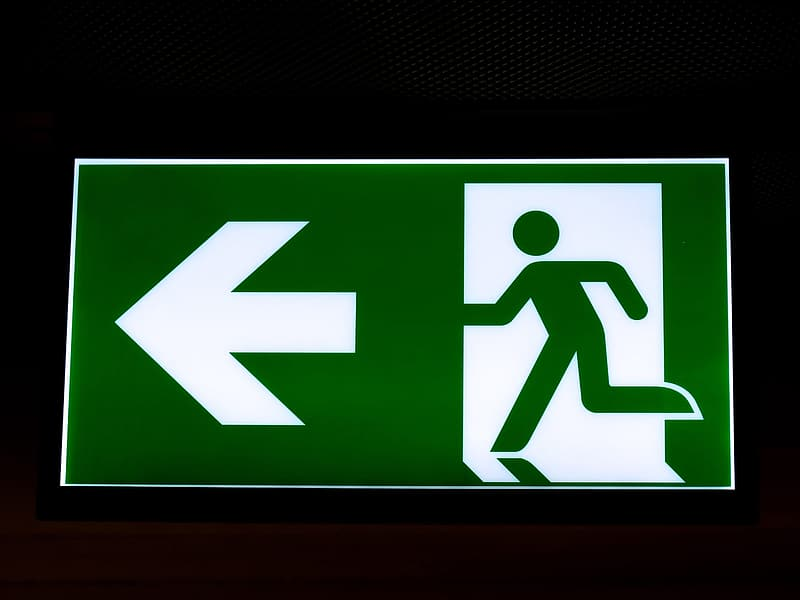 Green and white Fire Exit sigange