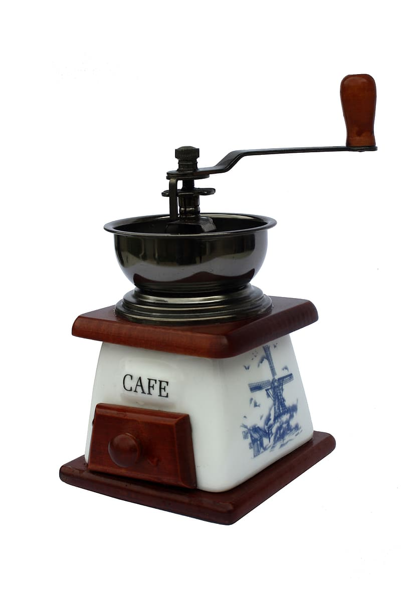 White and brown Cafe coffee mill