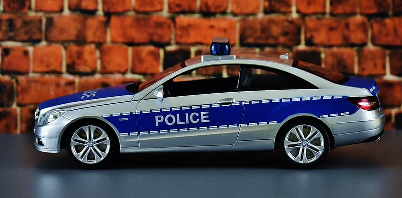 Blue and white police car toy