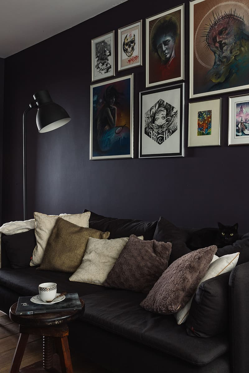 Black and white throw pillows on black couch