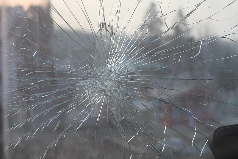 Cracked glass panel